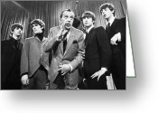 George Harrison Photo Greeting Cards - Beatles And Ed Sullivan Greeting Card by Granger