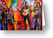 Ringo Starr Greeting Cards - Beatles Last Concert on the roof Greeting Card by Leland Castro