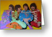 Sgt Peppers Greeting Cards - Beatles-Lonely Hearts Club Band Greeting Card by Bill Manson
