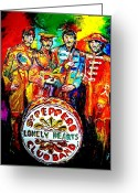 Ringo Starr Greeting Cards - Beatles Sgt. Pepper Greeting Card by Leland Castro
