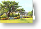 Cannons Greeting Cards - Beauregard House Greeting Card by Elaine Hodges