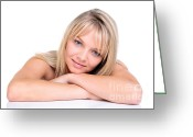 Folded Greeting Cards - Beautiful blonde woman Greeting Card by Richard Thomas