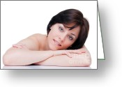 Arms Folded Greeting Cards - Beautiful brunette portrait Greeting Card by Richard Thomas