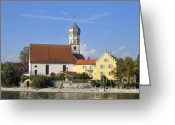 Georg Greeting Cards - Beautiful church in Wasserburg Lake Constance Greeting Card by Matthias Hauser