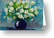 Flower Still Life Prints Painting Greeting Cards - Beautiful Daisies  Greeting Card by Patricia Awapara