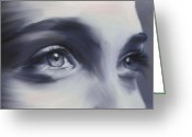 Staring Greeting Cards - Beautiful Eyes Greeting Card by David Ridley
