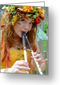 Renaissance Festival Greeting Cards - Beautiful Faerie with Flute Greeting Card by Debara Splendorio