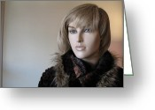 High Fashion Greeting Cards - Beautiful Female Face Portrait Mannequin Art Greeting Card by Kathy Fornal