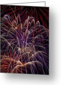 Explosion Photo Greeting Cards - Beautiful Fireworks Greeting Card by Garry Gay