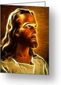 Good Friday Digital Art Greeting Cards - Beautiful Jesus Portrait Greeting Card by Pamela Johnson