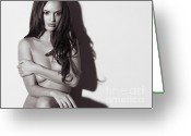 Brunette Greeting Cards - Beautiful Naked Woman Standing at a Wall Greeting Card by Oleksiy Maksymenko