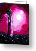 Surreal Art Painting Greeting Cards - Beautiful Pink Angel Fairy by Shawna Erback Greeting Card by Shawna Erback