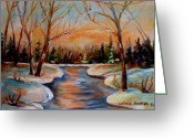 Sunset Scenes. Painting Greeting Cards - Beautiful  Spring Thaw Greeting Card by Carole Spandau