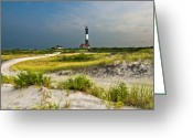 Long Island Greeting Cards - Beautiful Sunrise at the Fire Island Lighthouse Greeting Card by Vicki Jauron