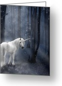 Silver Moonlight Greeting Cards - Beautiful Unicorn in Snowy Forest Greeting Card by Ethiriel  Photography
