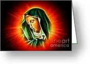 Good Friday Digital Art Greeting Cards - Beautiful Virgin Mary Portrait Greeting Card by Pamela Johnson