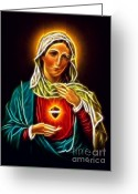 Good Friday Digital Art Greeting Cards - Beautiful Virgin Mary Sacred Heart Greeting Card by Pamela Johnson