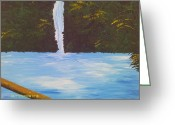Nestled In Greeting Cards - Beautiful Waterfall Greeting Card by Juliet Nidhan