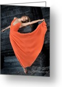 High Colour Vivid Color Greeting Cards - Beautiful Woman in Orange Dress Greeting Card by Oleksiy Maksymenko