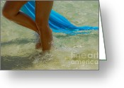 Sun Tan Greeting Cards - Beautiful woman legs in the crystal water Greeting Card by Jenny Rainbow