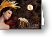 Head And Shoulders Greeting Cards - Beautiful Woman with Colorful Hair Extensions Greeting Card by Oleksiy Maksymenko