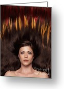 Beauty Care Greeting Cards - Beautiful Woman with Hair Extensions in a Shape of Fire Greeting Card by Oleksiy Maksymenko