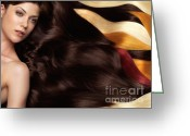 Head And Shoulders Greeting Cards - Beautiful Woman with Hair Extensions Greeting Card by Oleksiy Maksymenko