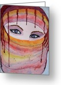Wearing Greeting Cards - Beautiful Woman with Niqab watercolor painting Greeting Card by Georgeta  Blanaru