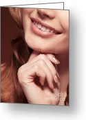 Beauty Care Greeting Cards - Beautiful Young Smiling Woman mouth Greeting Card by Oleksiy Maksymenko