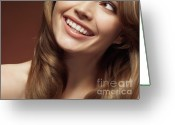 Twenties Greeting Cards - Beautiful Young Smiling Woman Greeting Card by Oleksiy Maksymenko