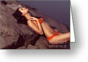 Sun Tan Greeting Cards - Beautiful Young Woman in Orange Bikini Greeting Card by Oleksiy Maksymenko