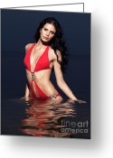 Sun Tan Greeting Cards - Beautiful Young Woman in Red Swimsuit Standing in Water Greeting Card by Oleksiy Maksymenko