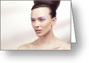 Hair-style Greeting Cards - Beautiful Young Woman Portrait Greeting Card by Oleksiy Maksymenko