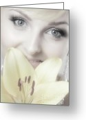 Looking At Camera Greeting Cards - Beautiful Young Woman with a Yellow Lily Greeting Card by Oleksiy Maksymenko