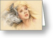 Animal Portrait Pastels Greeting Cards - Beauty and the Beast Greeting Card by Johanna Pieterman