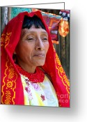 Native Portraits Greeting Cards - BEAUTY of a WOMAN Greeting Card by Karen Wiles