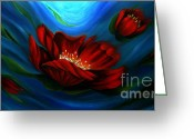 Landscape Framed Prints Greeting Cards - Beauty of Red Flower Greeting Card by Uma Devi