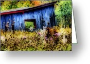 Abandoned Buildings Greeting Cards - Beauty of the Blue  Greeting Card by Emily Stauring