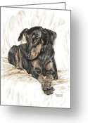 Pencil Drawing Greeting Cards - Beauty Pose - Doberman Pinscher Dog with Natural Ears Greeting Card by Kelli Swan