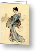 Hair Ornaments Greeting Cards - Beauty with Fan 1840 Greeting Card by Padre Art