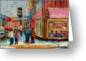 Montreal Street Life Greeting Cards - Beautys Luncheonette Montreal Greeting Card by Carole Spandau