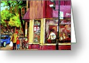Montreal Street Life Greeting Cards - Beautys Luncheonette Montreal Diner Greeting Card by Carole Spandau