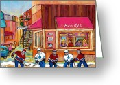 Games Painting Greeting Cards - Beautys Restaurant-montreal Street Scene Painting-hockey Game-hockeyart Greeting Card by Carole Spandau