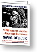 Political  Mixed Media Greeting Cards - Become A Naval Officer Greeting Card by War Is Hell Store
