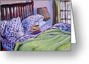 Hibernation Greeting Cards - Bed And Books Greeting Card by Tilly Strauss