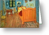 Van Painting Greeting Cards - Bedroom in Arles Greeting Card by Extrospection Art