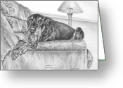 Dobermann Greeting Cards - Bedtime - Doberman Pinscher Dog Art Print Greeting Card by Kelli Swan
