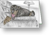 Dobermann Greeting Cards - Bedtime - Doberman Pinscher Dog Print color tinted Greeting Card by Kelli Swan