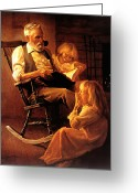Fireplace Greeting Cards - Bedtime Stories Greeting Card by Greg Olsen