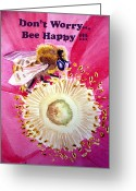 Flower Cards Greeting Cards - Bee Happy  Greeting Card by Irina Sztukowski